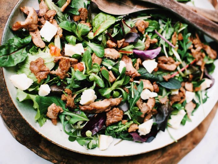 Mixed salad with warm veal strips