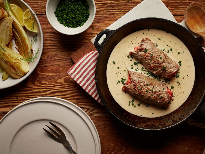 Veal schnitzel with smoked salmon and chive sauce